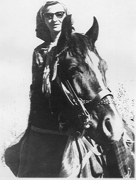 Mary Leila Gharagozlou on her black Obayan Sharak stallion, Arras
