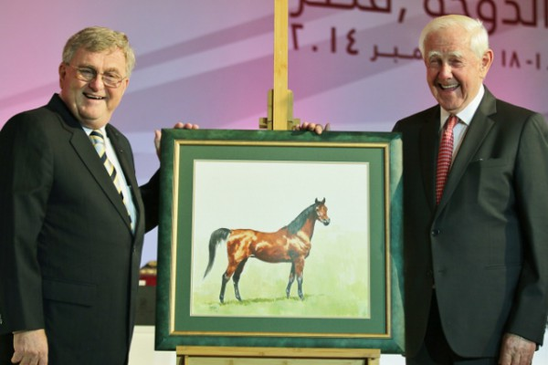 Peter Pond presents Dr. Hans Nagel with a watercolour of his famous mare Hanan, painted by Peter Upton
