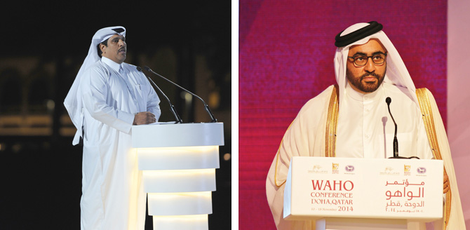 (left) Mr. Sami Jassim Al Boenain, General Director of QREC welcomed all participants of the WAHO Conference - (right) HE Sheikh Mohammed Bin Faleh Al Thani opening the Conference