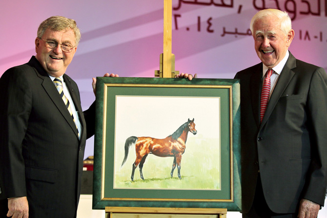 Peter Upton's painting of Hanan presented to Dr. Nagel