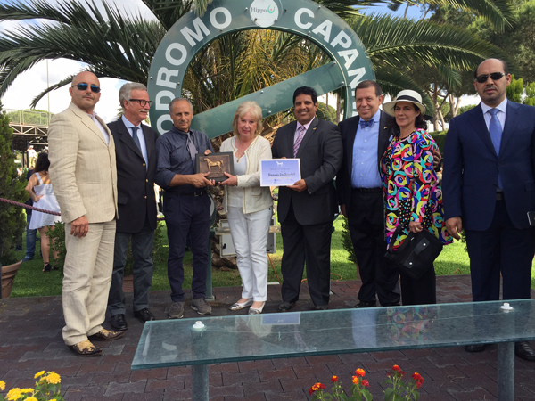 Left to Right: Domenico Ciceroni, General Secretary, ANICA; Dr. Francesco Santoro, President, ANICA; Antonio Efisio Pinna, Owner and Breeder of Tornado by Zucchele; Mrs. Valerie Bunting, Secretary of WAHO; Sami Jassim Al Boenain, Chairman of IFAHR; Marco Pittaluga, ANICA Board Member; Mrs. Annalisa Landucci, ANICA Board Member; HE Saqr Nasser Al Raisi, UAE Ambassador to Italy.